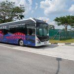 Ônibus Volvo autônomo em testes em Singapura.