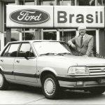 Rod Romano, Gerente Geral de Vendas da Ford do Brasil, em 1990 com o Del Rey 350 mil.