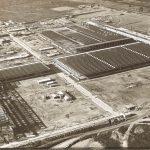 Vista aérea da fábrica VW Taubaté em construção.