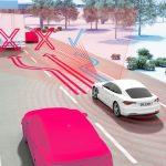 """Em situações críticas, a função """"Automated Front Collision Avoidance"""" é capaz de levar o veículo a mudar automaticamente de faixa, caso o motorista não reaja a tempo."""