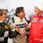 Com os amigos Alain Prost (FRA) e Nelson Piquet (BRA).