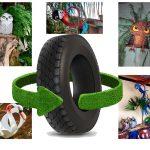 Consciência sustentável. Juntos podemos mais. O artesão Juliano Mattos expõe artefatos decorativos feitos a partir da reciclagem de pneus.