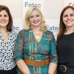 Juliana Nobre, gerente de Cidadania Corporativa da IBM, Laura Laganá, diretora-superintendente do Centro Paula Souza, e Raquel Laranjeira, gerente-executiva de Recursos Humanos da Volkswagen.